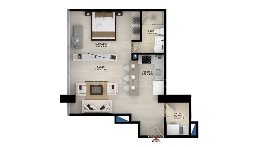 Apartasuite-tipo-2: 401-801-area-construida-46.98m2