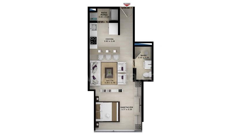 Apartasuite-tipo-4a: 403-803-area-construida-39.62-m2