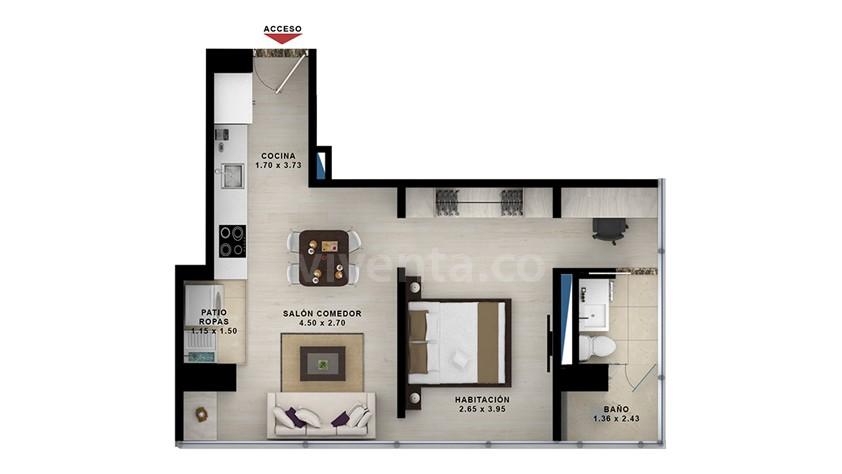 Apartasuite-tipo-5: 405-805-area-construida-45.44-m2